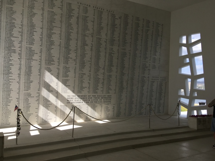 The memorial is the final resting place for the sailors killed here and anyone who survived is entitled to burial here - all the names are memorialized on this wall.